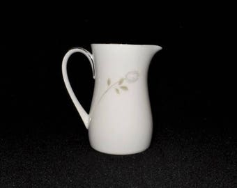 NORITAKE-ALTADENA Creamer-6437-Simple White China Small Pitcher-Single Dusty Gray Rose-Vintage-Replacement-Old-Orphaned Treasure-U022018C