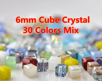 180pcs Cube 6mm Crystal Glass Faceted Beads Mix Color -MX05