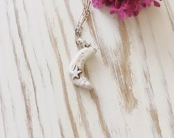 Handcrafted Recycled Silver Crescent Moon Necklace, Moon Necklace, Moon and Star Necklace