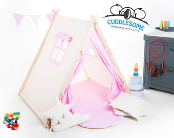 Teepee tent playhouse, best birthday gift, pink stars kids tipi tent, kids teepee with play mat, wigwam room decoration, boys fort teepee
