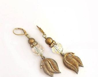 CRYSTAL DANGLE EARRINGS / Bridesmaid Jewelry / Drop Earrings / Repurposed Earrings / Beaded Earrings / Statement Earrings