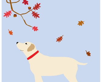 Yellow Lab in Autumn Original Illustration matted in 11 x 14 inch white mat