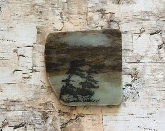 Natural Stone Coaster - 2 Pine Trees