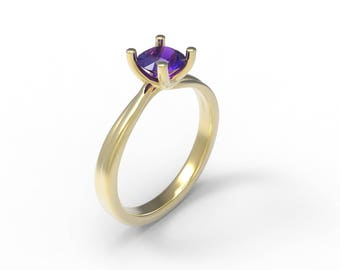 Amethyst Solitaire Gold Ring - Gold Solitaire Ring - Round Amethyst