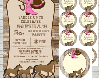 Saddle Up ~ Instant Download Editable Horse Invitation Templates 4x6, use as Thank You Notes, Games cards, Round Tags, Editable Tags BD23