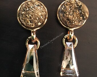 Copper Druzy & Golden Colored Keystone Shape Swarovski Crystal Earrings by Denise's Creations
