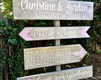 Wedding Directional Signs, Rustic Wedding  Decor, Barn Wedding, Wedding Decor, Wedding Signs, Custom Colors Available
