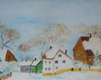 vintage oil painting of houses boston mass signed ca.1971