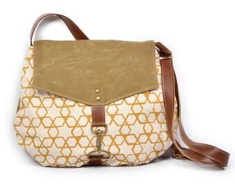 satchel • waxed canvas crossbody bag - geometric print • hand printed canvas - brown waxed canvas • every day bag - cross body