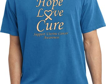 Men's Hope Love Cure Support Uterine Cancer Awareness Pigment Dyed Tee T-Shirt HLC-SUCA-PC099
