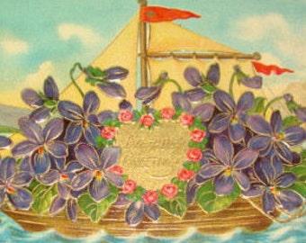 SALE Vintage Floral Embossed Boat Postcard