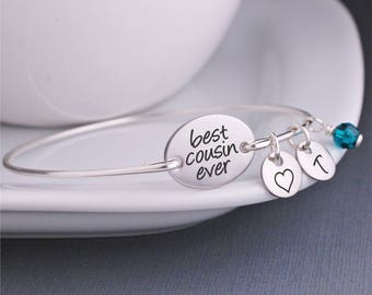 Custom Cousin Gift, Silver Cousin Bangle, Best Cousin Ever Jewelry, Engraved Bracelet for Cousin, BFF Cousin Jewelry