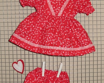 """Handmade 12 - 14 Inch Baby Doll Clothes ~ """"Key to my Heart"""" Red and White Valentine's Hearts Print Dress & Panties Set"""