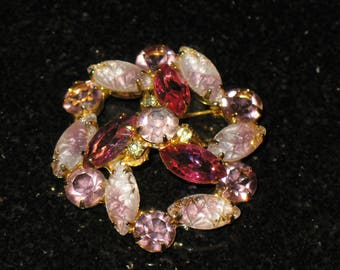 Large Carved Amethyst Marquis Prong Set Rhinestone Brooch