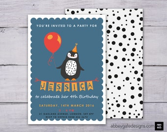 Personalised Penguin Invitation, Penguin Party Invitation, Printable Penguin Birthday Invitation, Blue Invite, Custom Penguin Party Invite