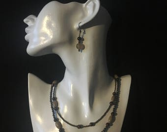 Two rows jewelry set of tiger eye stones, fire agate and toho biser; earrings and necklace