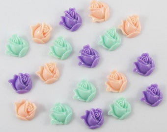 18pcs DIY Resin Rose Bud Flower Cabochon Flat Back 13mm Cards Hair Clips (CE035)