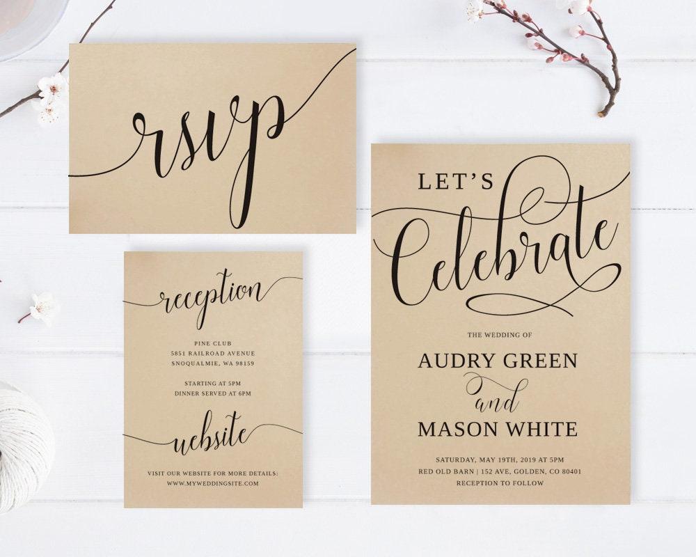 Kraft paper wedding invitations rsvp postcards Info cards