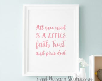 Peter Pan Nursery Print, Tinkerbell Peter Pan Nursery Poster Pink Quote All You Need Is A Little Faith, Trust, And Pixie Dust Printable