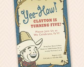 Boy's Retro Cowboy Birthday Party Invitation
