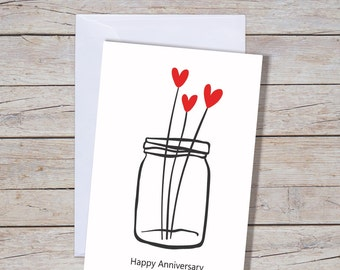 Happy Anniversary - A6 Greeting Card, Wedding Anniversary Card, Anniversary Greeting Card