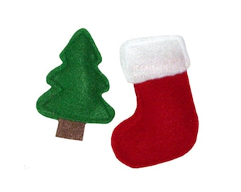 Wool felt catnip toys, Holiday Tree & Stocking - stuffed with our all-natural homegrown catnip, guaranteed fun!