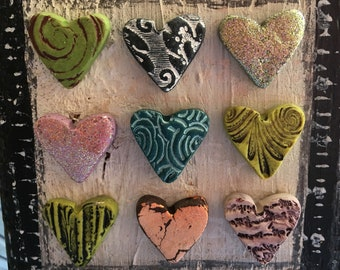 mixed media art with pink and green hearts- polymer clay heart art block