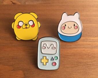 Enamel Pins, Adventure Time Pin Set of 3, Lapel Pin, Kawaii, Adventure Time