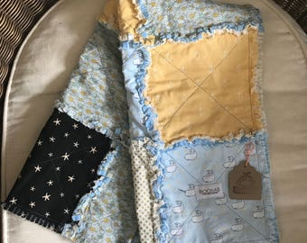 Narwhal whale rag quilt ON CLEARANCE !