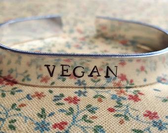 Vegan Handstamped Aluminium Cuff Bracelet