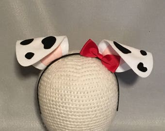 Puppy Dog Ears bow birthday party favors Dalmatian Dalmation black white spots red bow headband  Halloween costume invitation cosplay animal