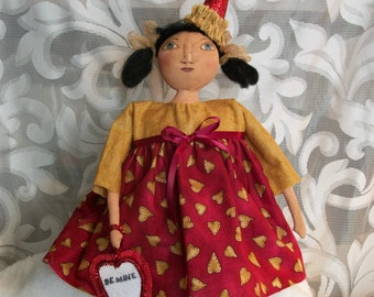 PATTERN, primitive  doll, 16 in. original design, Dumplinragamuffin,  81