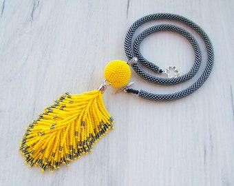 Statement Tassel necklace - beaded Yellow and Shiny Black tassle pendant necklace - Fringe Necklace - Chunky beaded long tassel necklace
