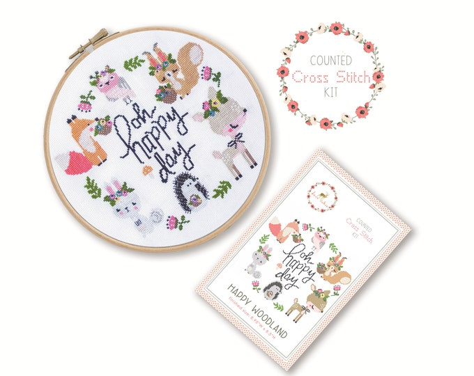Counted Cross Stitch Kit - Happy Woodland / cross stitch pattern, craft kit, embroidery, gift, fun, dmc, supplies, handmade, fox, deer