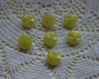 """7 Beautiful Yellow metal shank vintage buttons 5/8"""" 1.6cm #83"""