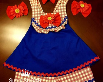 Girls Pageant Red White Blue Patriotic Casual Wear Outfit of Choice Halter Top Shorts Hair Bows Sock Bows