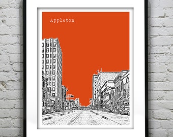 Appleton Wisconsin Poster Print Art City Skyline WI