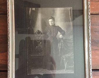 Framed Photograph of a Victorian Woman / Vintage Wall Hanging / Wall Decor / Antique Photo