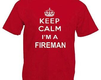 Keep calm fireman adults mens t shirt 12 colours size s - 3xl