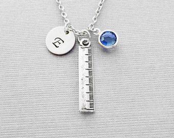 Ruler Necklace, Teacher Gift, School Jewelry, Silver Jewelry, Swarovski Birthstone, Silver Initial, Personalized Monogram, Hand Stamped