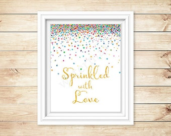 Baby Shower Sign, Sprinkled with Love Sign, Instant Download Baby Shower Welcome Sign Printable