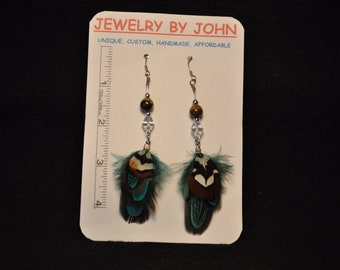 Synthetic Quail Feather Dangling Earrings with Tiger Eye and Sparkling Crystal Beads on Ear Wires