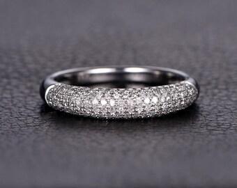 Cluster Diamond Ring Flared Super Half Diamond Pave Wedding Band Diamond Engagement Ring Pave Wedding Ring Half Eternity Ring Pave Ring