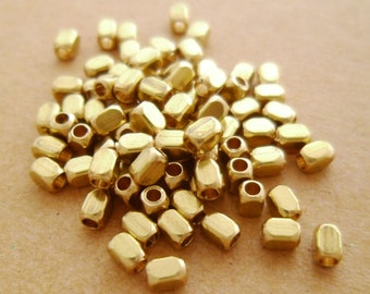 200pcs Eco-friendly High Quality Raw Brass Cute Tiny Faceted Tube Beads Spacers Bracelets Necklaces Layering 3x2mm
