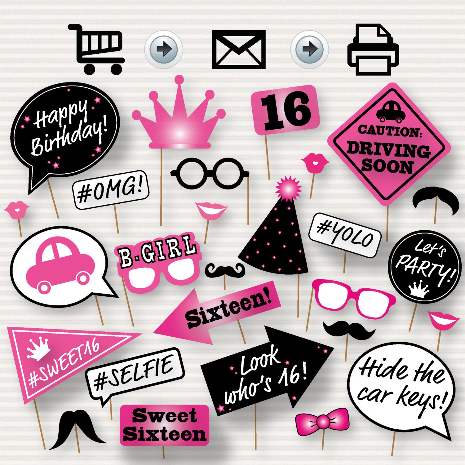 Sweet 16 photo booth printable props printable sweet sixteen zoom jeuxipadfo Gallery