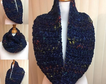 Navy Blue Cowl, Crochet Cowl Scarf, Blue Cowl, Dark Blue Scarf, Blue Infinity Scarf, Blue Scarf, Chunky Scarf, Fuzzy Scarf, Gifts for Her