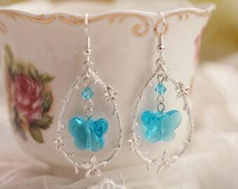 Butterfly    Earrings ---Silver plating  Framed   Blue Crystal Butterfly  , Earrings