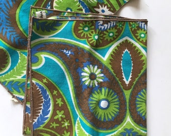 2 Vera Neumann Turquoise and Brown Cotton Napkins