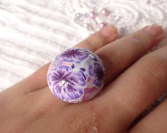 purple flowers ring