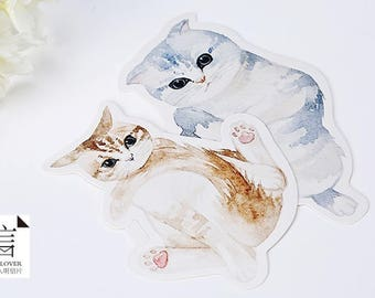 10pcs // CAT ON DUTY // Die Cut Card // Bunting // Mailing Postcards // Tags // Photo Background // Wall Decor // Gift Craft // Scrapbooking